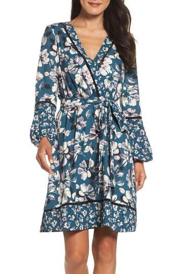 Women's Eliza J Print Bell Sleeve Faux Wrap Dress