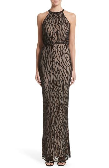 Rachel Gilbert Toriana Beaded Mesh Gown, Black