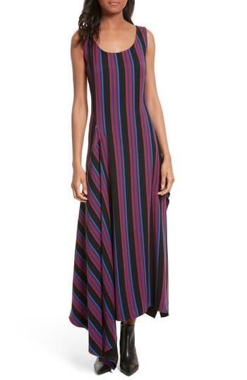 Diane Von Furstenberg Stripe Scoop Neck Maxi Dress, Burgundy