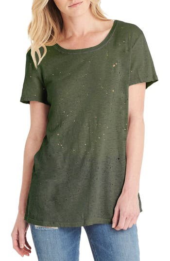 Michael Stars Distressed Hemp & Cotton Tee, Size One Size - Green