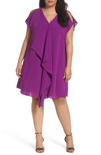 Plus Size Women's Adrianna Papell Asymmetrical Drape Shift Dress, Size 14W - Purple