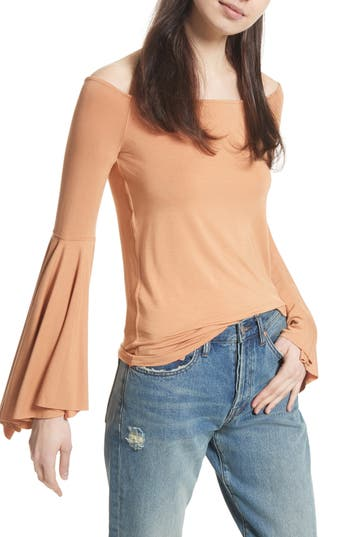 Free People Birds Of Paradise Off The Shoulder Top, Beige