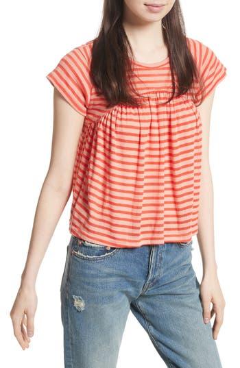 Women's Free People Jojo Stripe Tee, Size X-Small - Coral