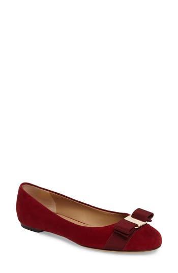 Salvatore Ferragamo Varina Leather Flat, Red