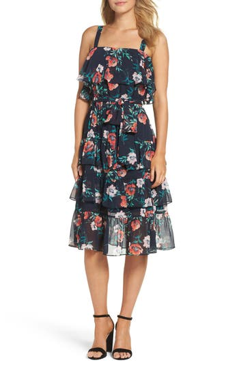 Eliza J Floral Ruffle Dress, Blue