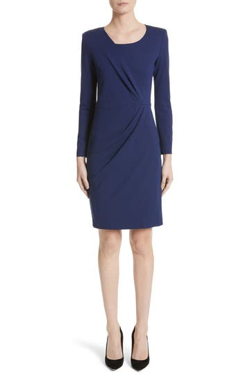 Armani Collezioni Side Gather Milano Jersey Dress, Blue