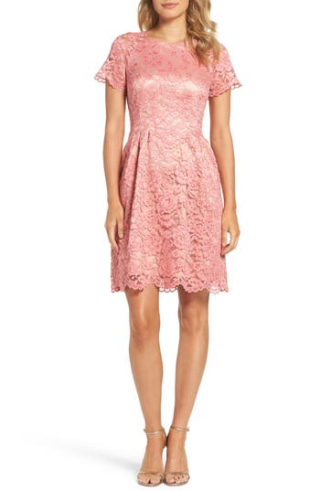 Vince Camuto Lace Fit & Flare Dress, Pink