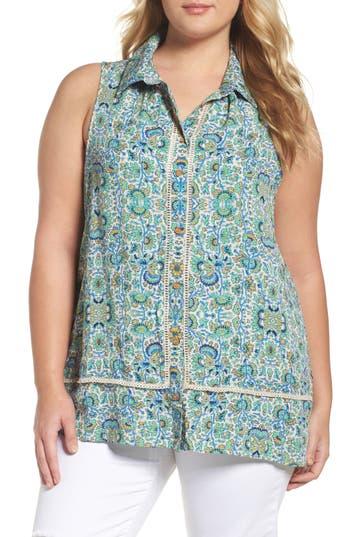 Plus Size Women's Wit & Wisdom Print Sleeveless Blouse, Size 1X - Green