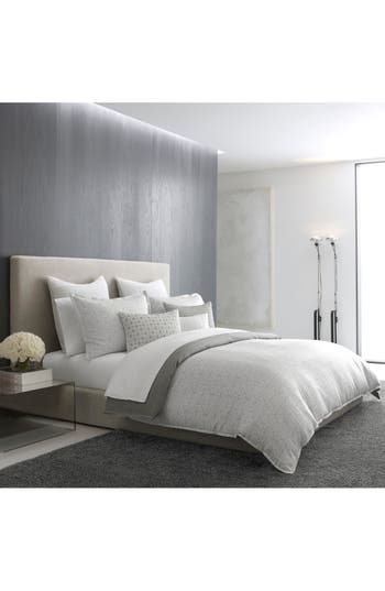 Vera Wang Mirrored Square Duvet Cover, Size Queen - Grey