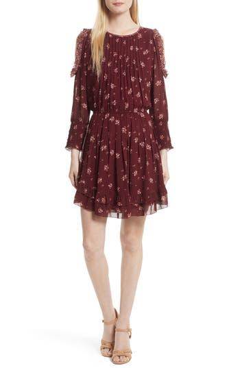 Joie Arleth Cold Shoulder Silk Dress, Red