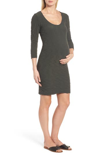 Tees By Tina Crinkle Maternity Sheath Dress, Size One Size - Green