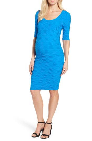 Tees By Tina Monaco Crinkle Maternity Sheath Dress, Size One Size - Blue