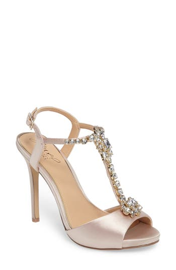 Jewel Badgley Mischka Leeane T-Strap Sandal, Metallic