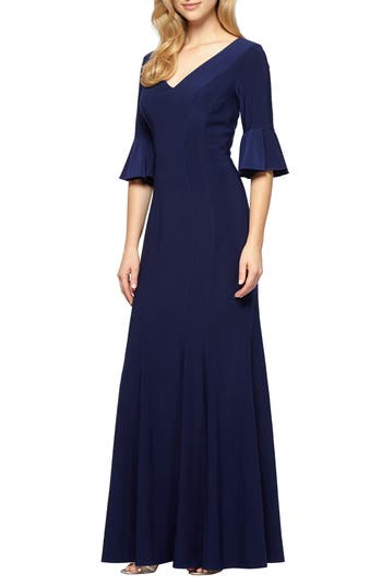 Alex Evenings Fit & Flare Gown, Blue