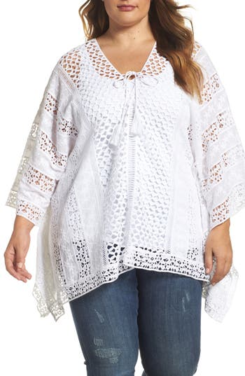 Plus Size Women's Xcvi Wearables Jace Embroidered Cotton Poncho, Size 1X - White