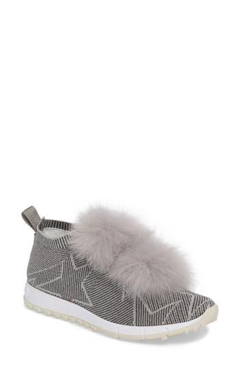 Jimmy Choo Norway Genuine Fox Fur Trim Slip-On Sneaker, Grey