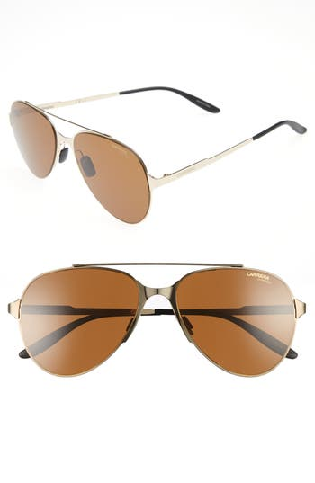 Women's Carrera Eyewear 55Mm Aviator Sunglasses - Matte Black/ Gold