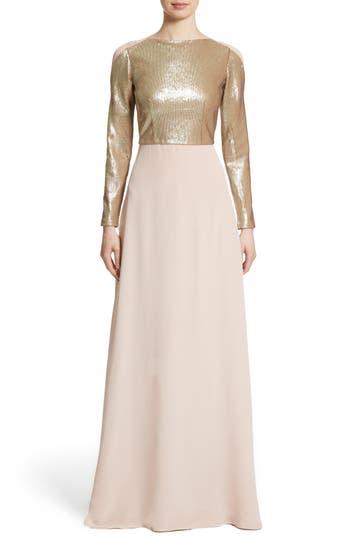 Carolina Herrera Sequin Front A-Line Silk Gown, Pink