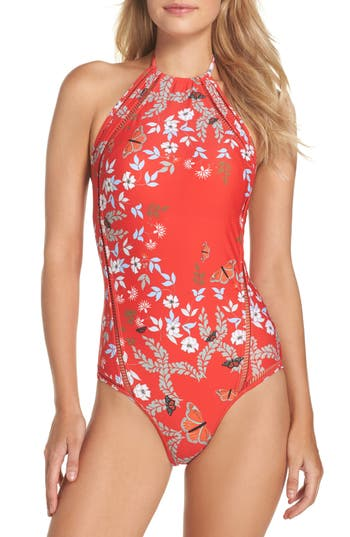 Ted Baker London Kyoto One-Piece Swimsuit, Red