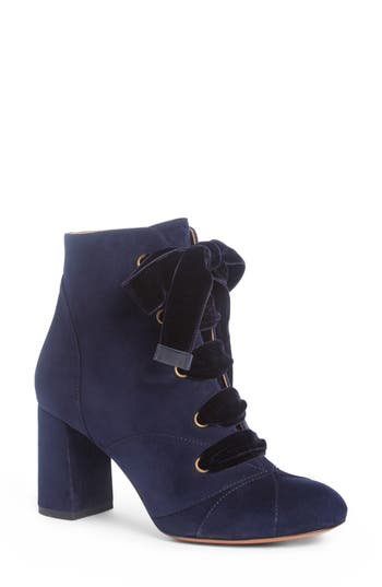 Chloe Graphic Leaves Velvet Lace Bootie