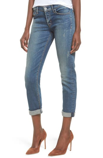 Hudson Jeans Crop Riley Relaxed Straight Leg Jeans, Blue