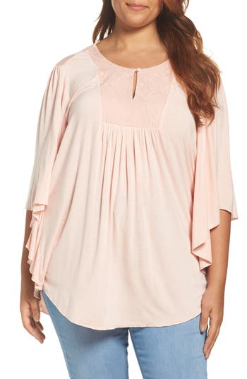 Plus Size Women's Melissa Mccarthy Seven7 Embroidered Bib Top, Size 1X - Pink