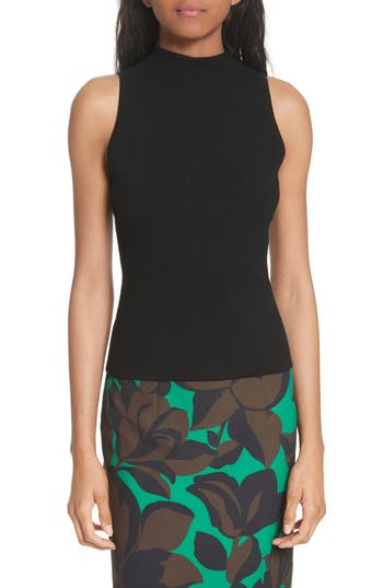 Women's Milly Mock Neck Knit Tank, Size Petite - Black