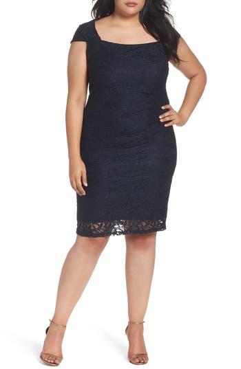Plus Size Marina Lace Cocktail Dress, Blue