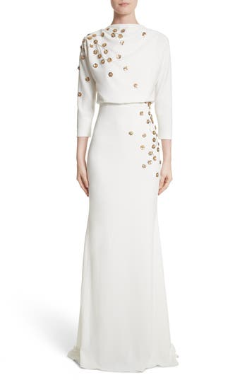Badgley Mischka Couture Floral Embellished Crepe Gown, Ivory