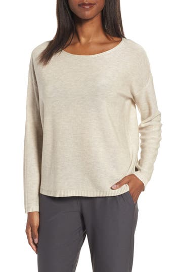 Eileen Fisher Tencel & Wool Boxy Sweater, Beige