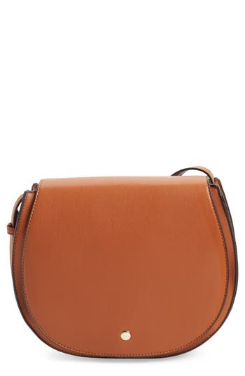 Sole Society Jules Two-Tone Faux Leather Saddlebag - Brown
