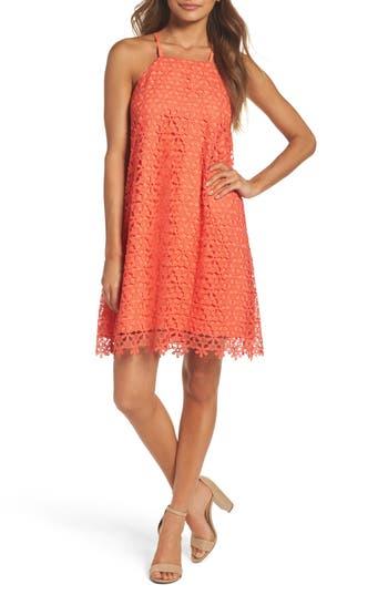 Chelsea28 Floral Lace Trapeze Halter Dress, Coral