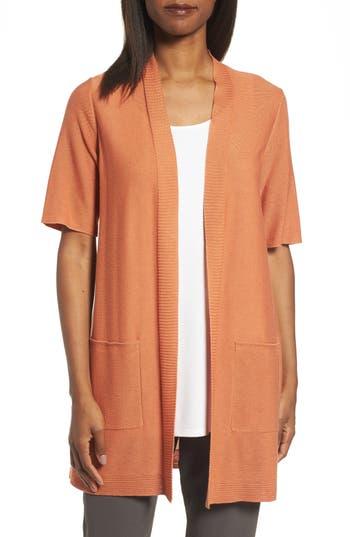 Eileen Fisher Simple Tencel & Merino Wool Cardigan, Orange