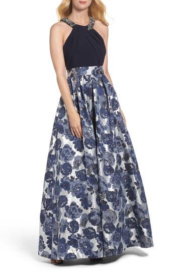 Eliza J Embellished Floral Jacquard Fit & Flare Gown, Blue