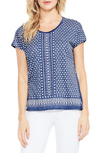 Two By Vince Camuto Tile Border Print Tee, Blue