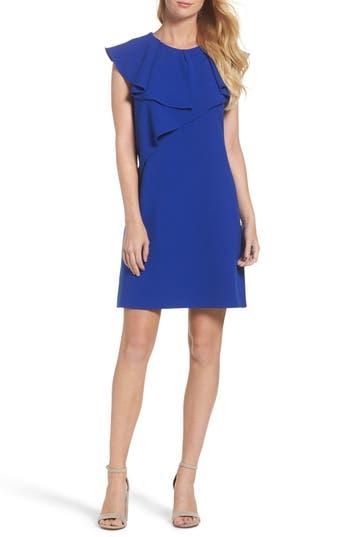 Women's Eliza J Ruffle Shift Dress, Size 2 - Blue