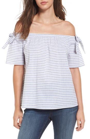 Women's Soprano Stripe Cotton & Linen Off The Shoulder Top, Size X-Small - Blue