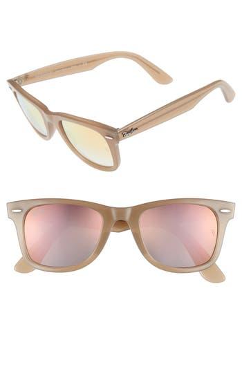 Ray-Ban 50Mm Wayfarer Ease Gradient Mirrored Sunglasses - Beige