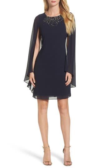 Vince Camuto Embellished Caped Sheath Dress, Blue