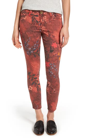 Kut From The Kloth Connie Print Skinny Ankle Jeans, Red