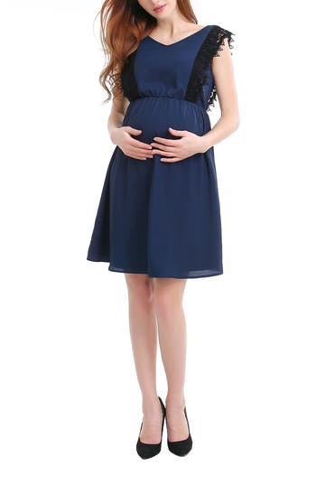 Kimi And Kai Hallie Lace Trim Maternity/nursing Dress, Blue