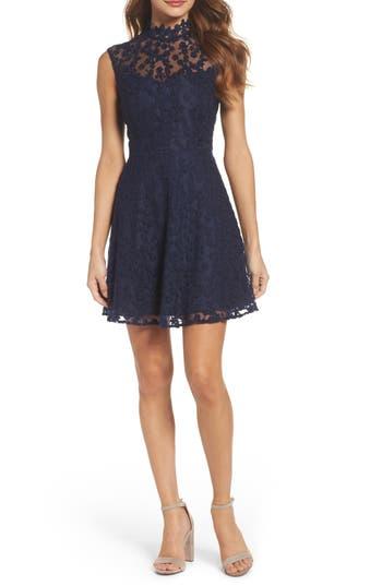 Bb Dakota Embroidered Mesh Fit & Flare Dress