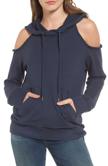Splendid Cold Shoulder Hoodie, Blue