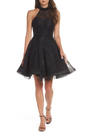 MAC Duggal Beaded Lace Fit & Flare Dress, Black