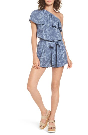 Women's Mimi Chica Ruffle One-Shoulder Romper, Size X-Small - Blue