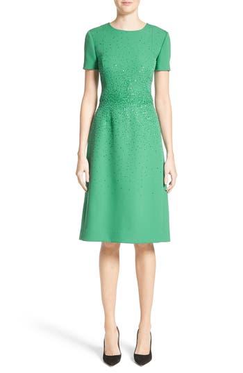 Carolina Herrera Beaded Stretch Wool Dress