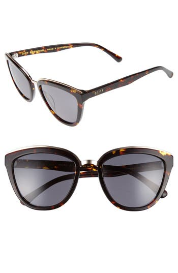 Women's Diff Rose 55Mm Polarized Mirrored Sunglasses - Tortoise/ Grey