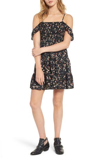 Mimi Chica Smocked Off The Shoulder Minidress, Black