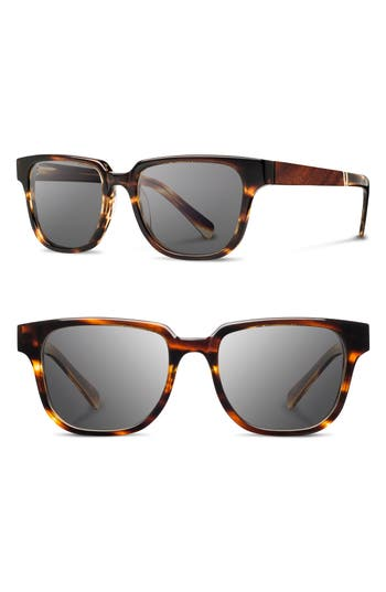 Men's Shwood 'Prescott' 52Mm Polarized Sunglasses - Tortoise/ Mahogany/ Grey