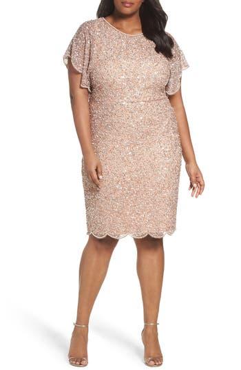 Plus Size Adrianna Papell Beaded Flutter Sleeve Sheath Dress, Pink